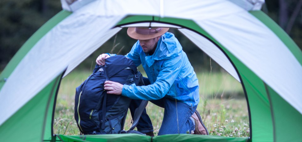 Outdoor Research Proverb Rain Jacket, tent, backpack